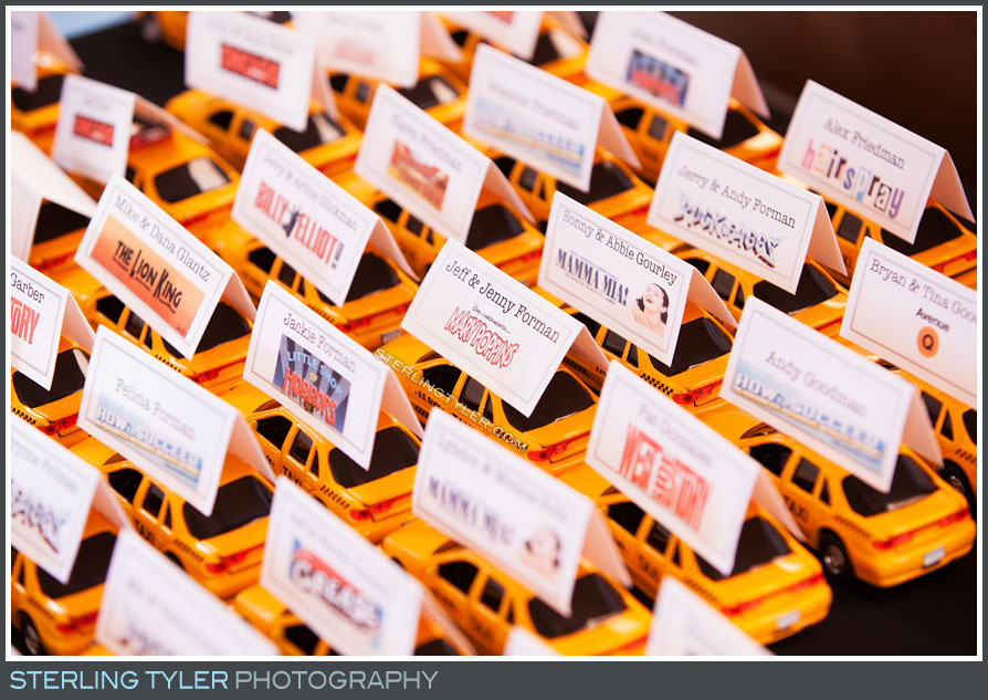 bar mitzvah reception temple judea place cards decor detail