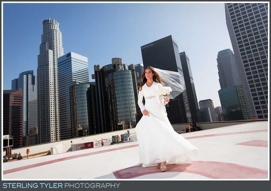 rooftop downtown los angeles bride portrait la hotel