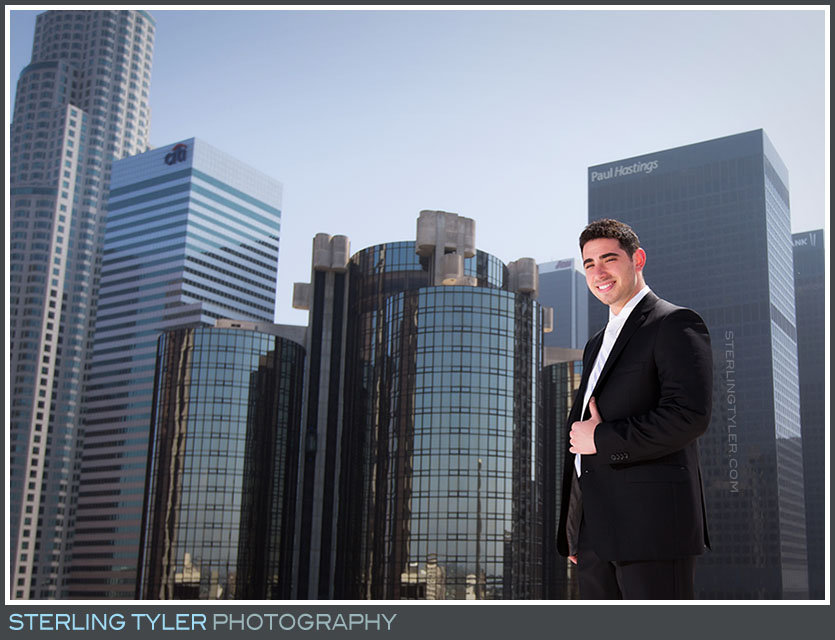 rooftop downtown los angeles groom portrait la hotel