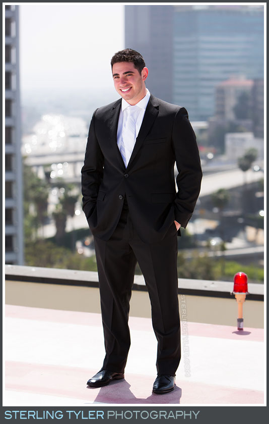 rooftop portrait groom downtown los angeles la hotel