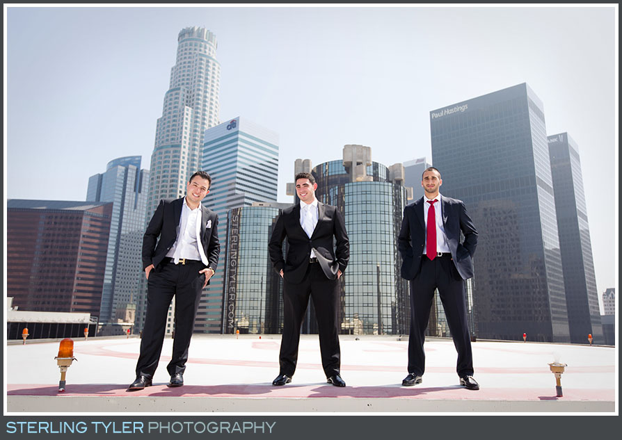 rooftop downtown los angeles portrait groomsmen la hotel