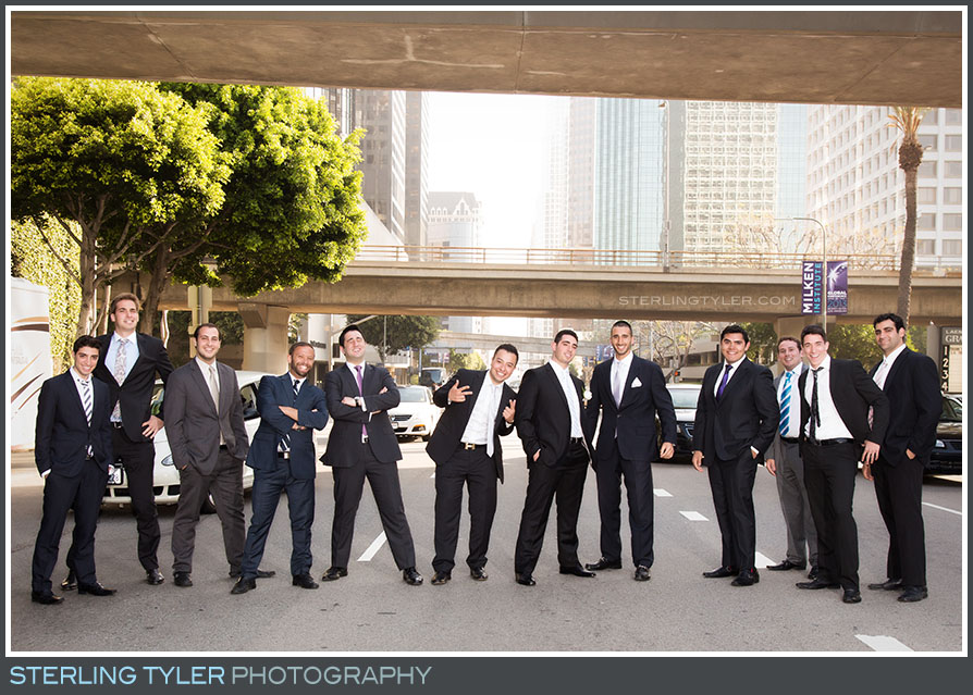 los angeles groomsmen portrait street downtown