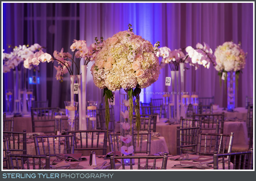 reception table flowers decor detail la hotel purple