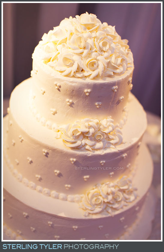 wedding cake white reception la hotel detail