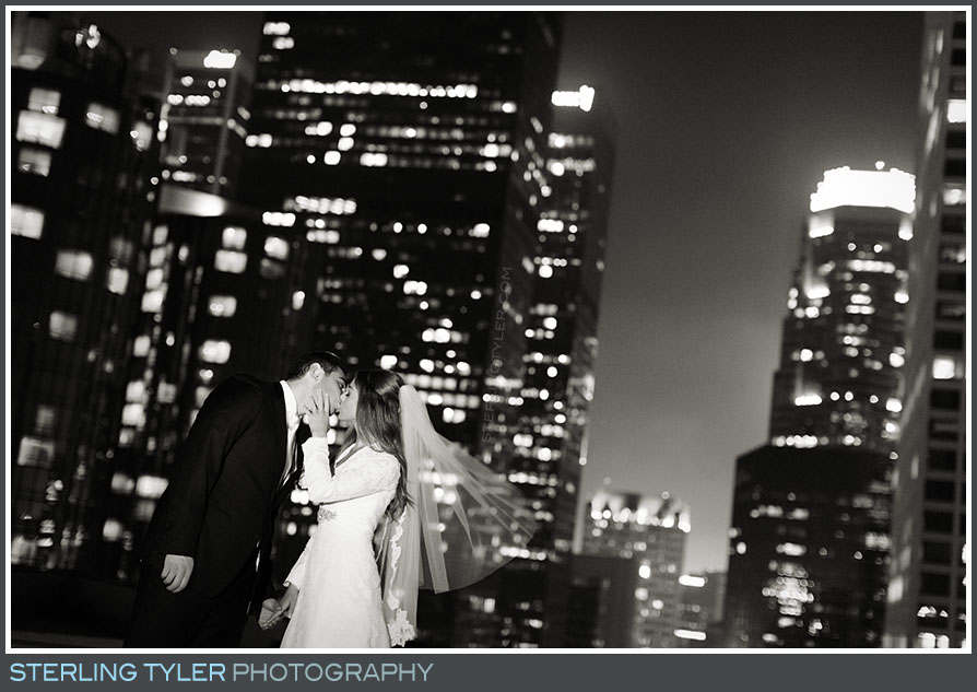 downtown la roof top portrait bride groom la hotel
